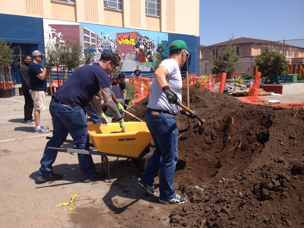 Salesforce Volunteers at Rear Yard of James Denman Middle School