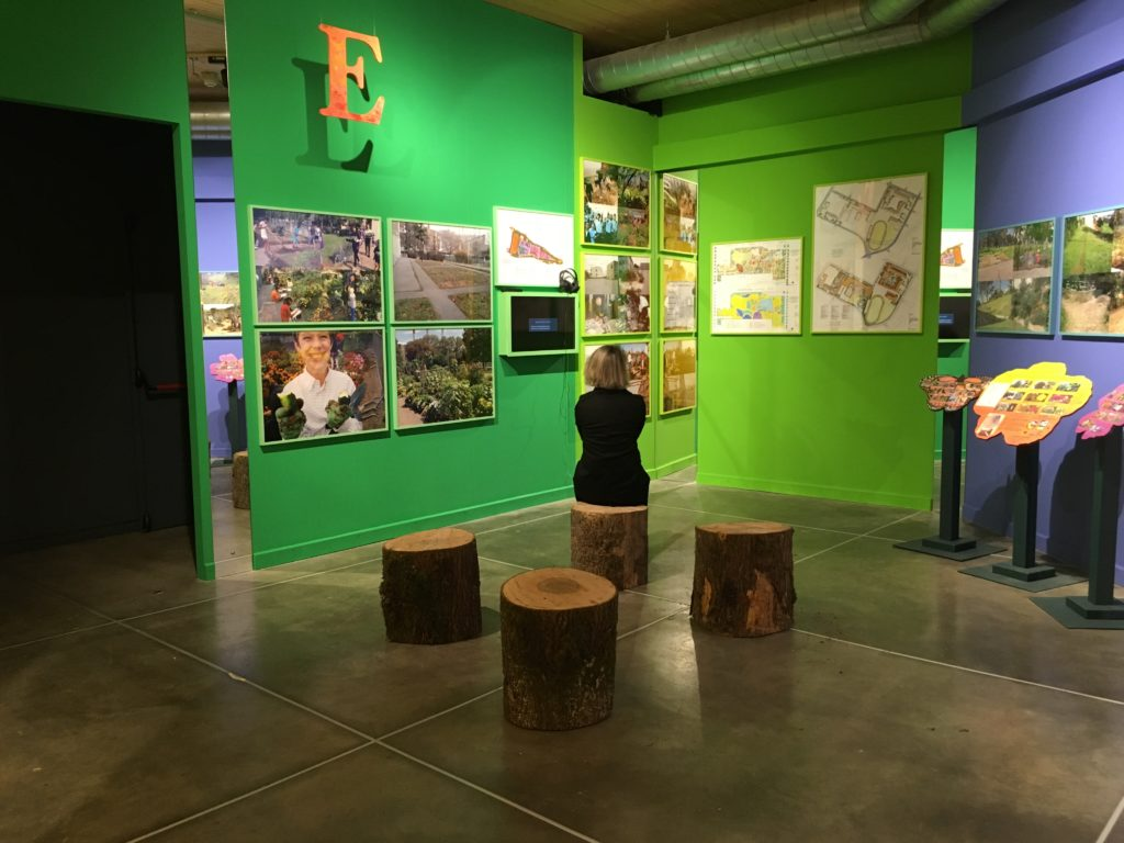 Scene from A Living Library Is Cultivating The Human & Ecological Garden, Bonnie Ora Sherk's installation, with Lucia Ranabaldo at PAV, Torino, Italia
