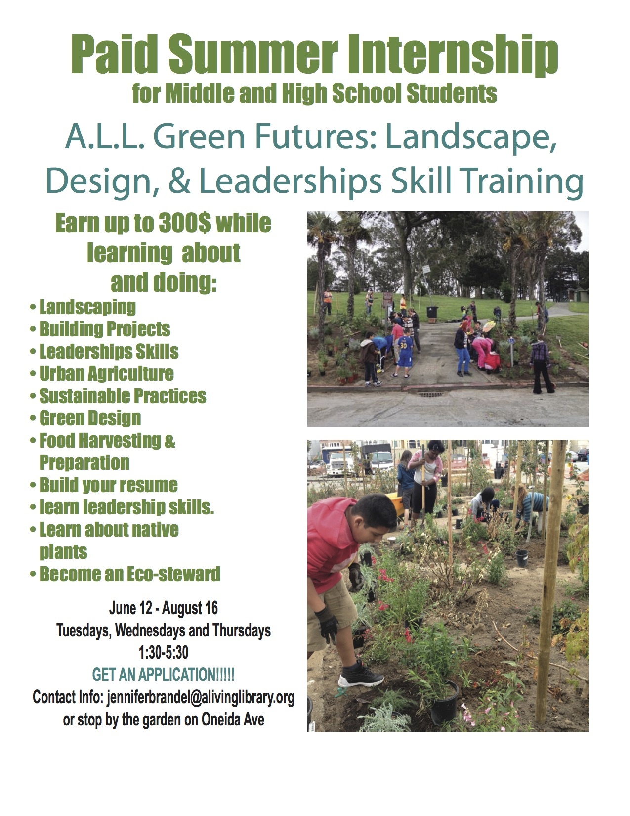 Develop Your Green Skills in A.L.L. Green Futures Paid Summer Internship Program