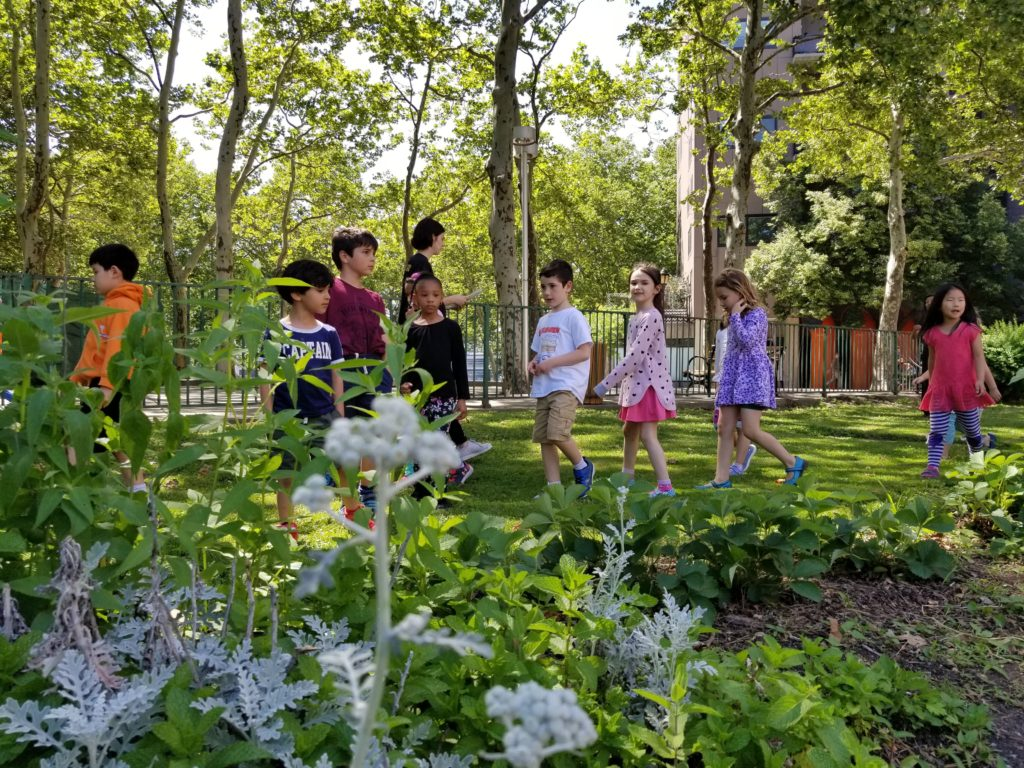 Roosevelt Island children observing the lush plantings in RI Living Library & Think Park Gardens