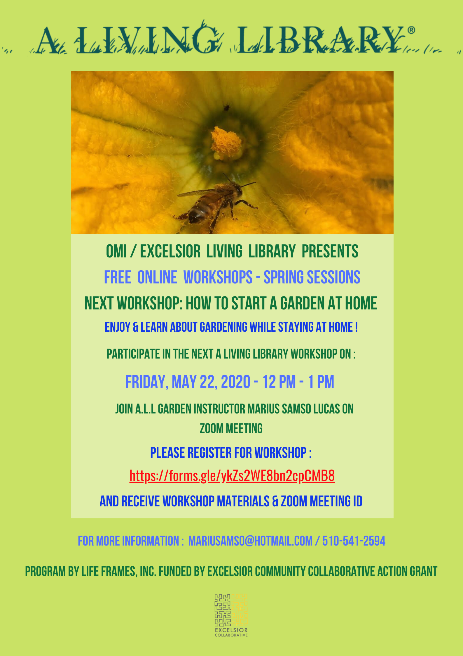 A Living Library Free Community Organic Gardening Workshop_MAY 2020